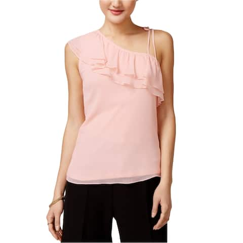 Shift Womens Ruffled One Shoulder Blouse, pink, X-Large