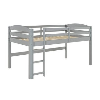 Offex Kids Solid Wood Low Loft Twin Bed in Painted Finish - Grey