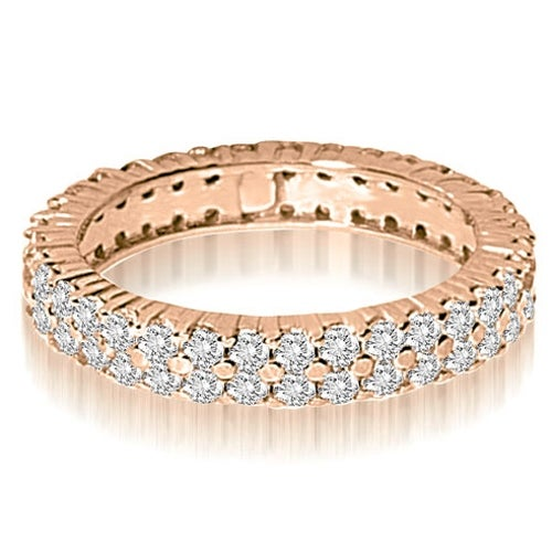 1.70 cttw. 14K Rose Gold Round Two Row Prong Diamond Eternity Ring