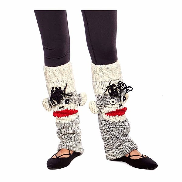Fun Handknit Wool Winter Animal Face Leg Warmers
