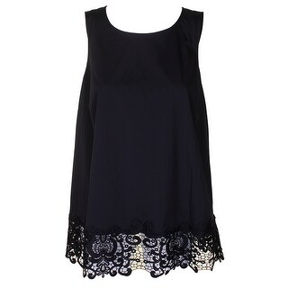 Alfani Deep Black Scoop Neck Lace-Hem Sleeveless Blouse 14