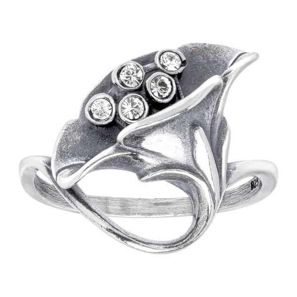 Van Kempen Art Nouveau Calla Lilly Ring with Swarovski Elements Crystals in Sterling Silver - White