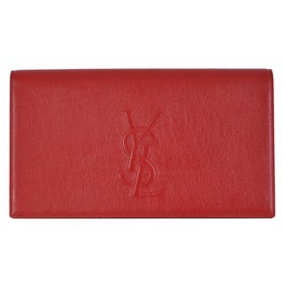 "Saint Laurent YSL 361120 Red Leather Large Belle de Jour Clutch Handbag Bag - 11"" x 6"" x 2"""
