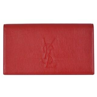 """Saint Laurent YSL 361120 Red Leather Large Belle de Jour Clutch Handbag Bag - 11"""" x 6"""" x 2"""""""