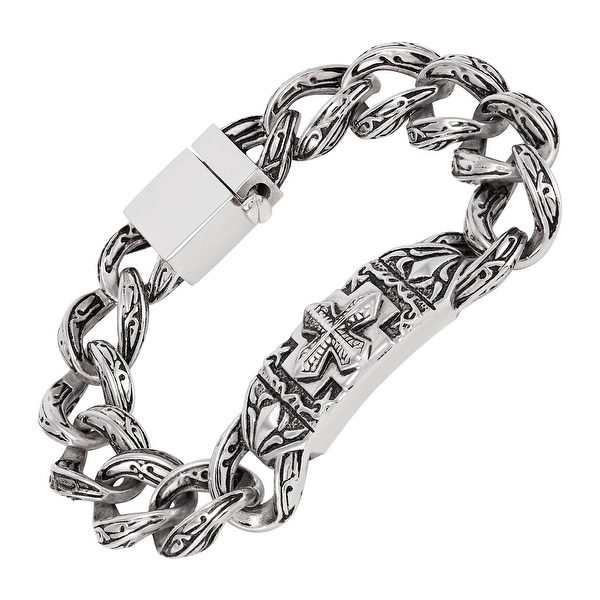 Men's Stainless Steel Cross Curved Plate Link Bracelet, 8.5 Inches. Opens flyout.