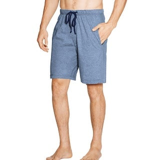 Hanes Men's Jersey Lounge Drawstring Shorts with Logo Waistband 2-Pack - Color - Chambre Blue Heather/Bright Navy - Size - M