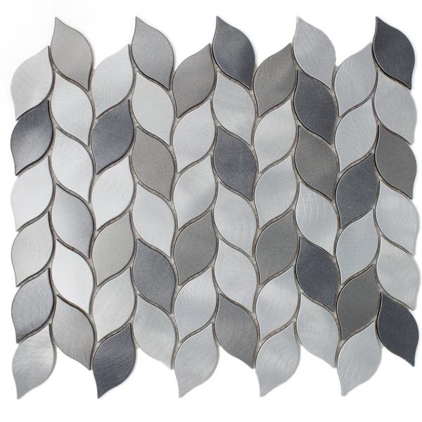 "TileGen. Leaf Shape 1.25"" x 2.75"" Aluminum Metal Mosaic Tile in Silver/Gray Wall Tile (10 sheets/11sqft.). Opens flyout."