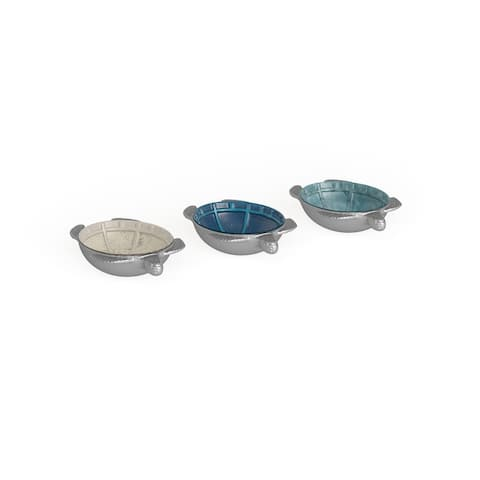 Copper Grove Sharbot 3-piece Aluminum Turtle Bowl (8'' x 2'')