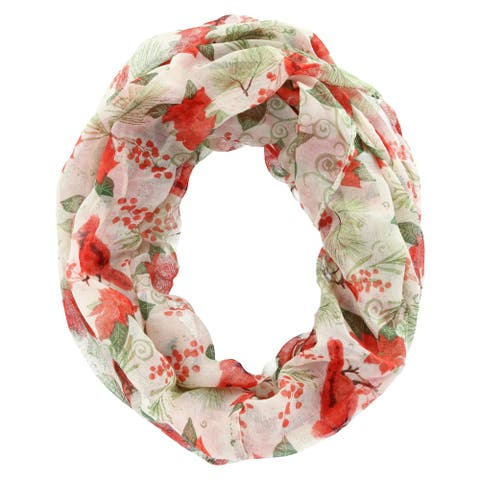 David & Young Women's Holiday Cardinal and Poinsettia Infinity Loop Scarf - Ivory - one size