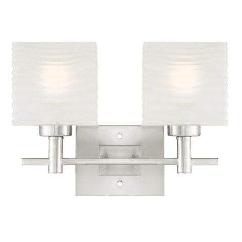 "Westinghouse 6303900 Alexander 16"" Wide 2 Light Bathroom Vanity Light with Glass Shades - Brushed nickel"