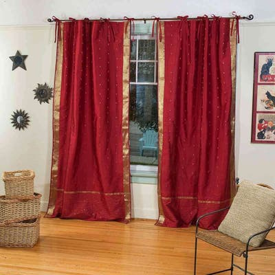 Indo Maroon Tie Top Sari Sheer Curtain (43 in. x 84 in.) - 43 X 84 Inches (109 X 213 Cms)