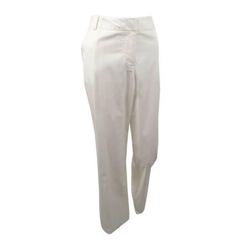 Women's Solid Pants (8, Cream) - 8