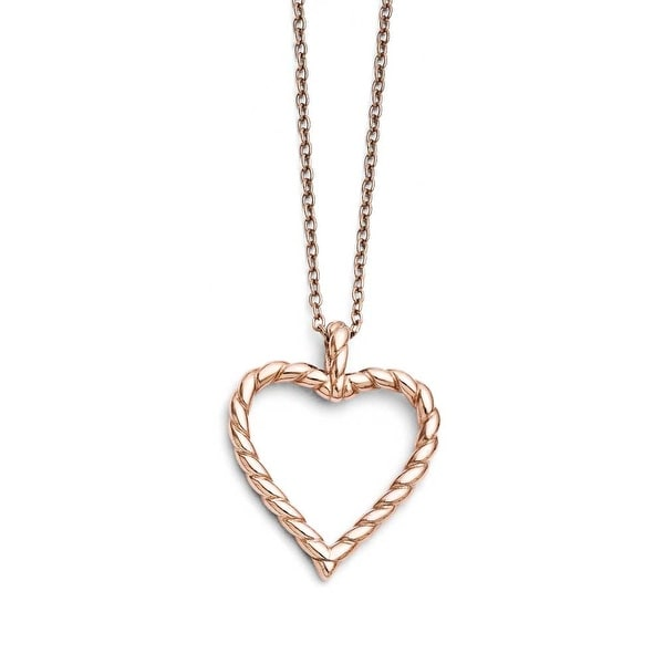 Chisel Stainless Steel Polished Pink IP-plated Twisted Heart Necklace (2 mm) - 18 in