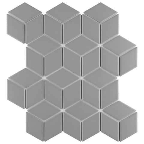 "SomerTile Metro Rhombus Glossy Light Gray 10.5"" x 12.125"" Porcelain Mosaic Floor and Wall Tile (10 Tiles/9.04 sqft.)"