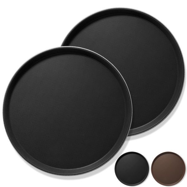 (Set of 2) Round Restaurant Serving Trays, Non-Skid NSF Food Service