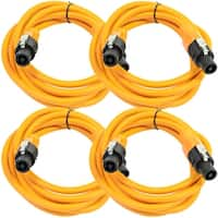 SEISMIC AUDIO 4 Pack of 12 Gauge 10' Orange Speakon to Speakon Speaker Cables