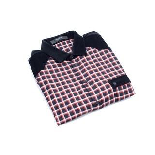 Givenchy Men's Cotton Red & Black Plaid Button Down - 44