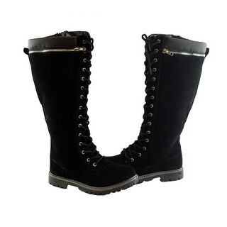 Bella Marie Adult Black Suede Lace-Up Zipper Detail High Boots