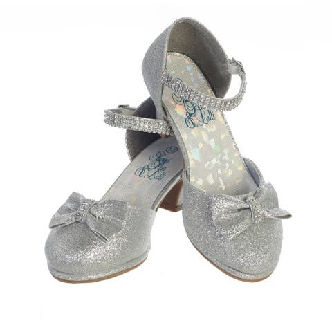 Girls Silver Glitter Rhinestone Strap Bella Dress Shoes