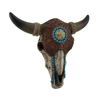 Tooled Leather Look Covered Southwest Bull Skull Wall Sculpture