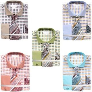 Men's Dress Shirt Broken Stripe Design French Cuffs Tie Hanky Cufflinks