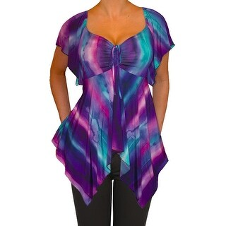 Funfash Plus Size Women Purple Empire Waist A Line Top Made in USA
