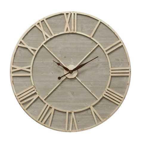 StyleCraft Antique Ivory and Driftwood Wall Clock