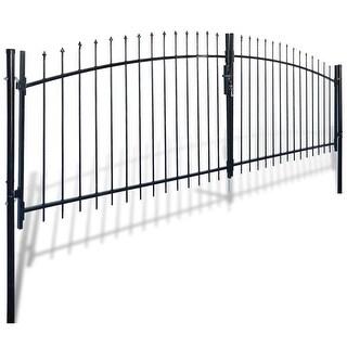 vidaXL Double Door Fence Gate with Spear Top 13' x 6'