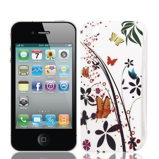 Butterfly Pattern Soft Plastic Cover Case Black White for iPhone 4 4G 4S