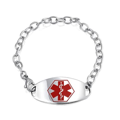 Identification Doctors Medical Alert ID Bracelet Curb Chain For Women Silver Tone Stainless Steel