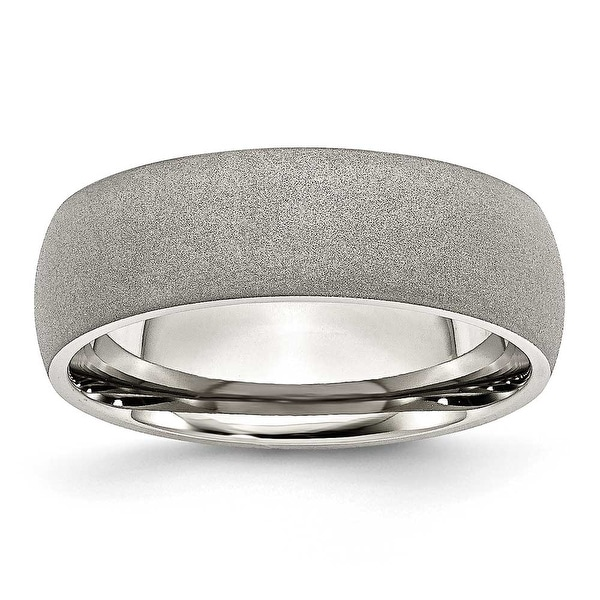 Stainless Steel Stone Finish 7mm Band