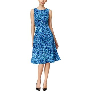 Jessica Howard Womens Petites Casual Dress Ruched Printed