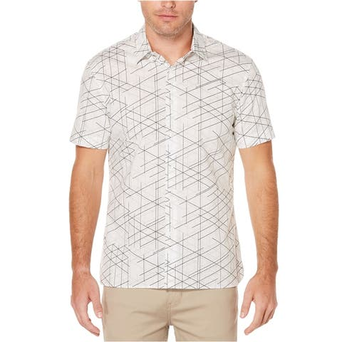 Perry Ellis Mens Linear Button Up Shirt, White, X-Large