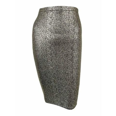Material Girl Juniors' Metallic Foil Pencil Skirt - gold combo