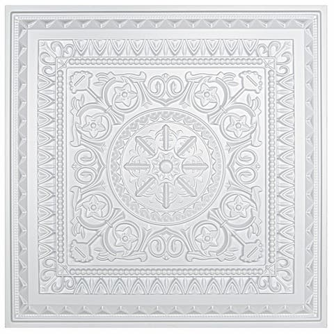 Art3d 2x2 PVC Decorative Suspended ceiling Tile, Glue-up Ceiling Panel Victorian Pattern in Matt White (12-Pack)
