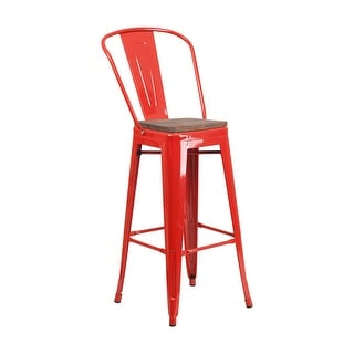 "Offex 30"" High Bistro Style Red Metal Barstool with Back and Wood Seat"