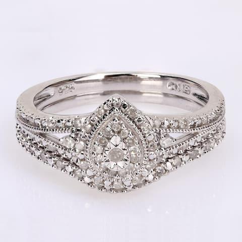 Miadora Sterling Silver 1/4ct TDW Diamond Pear Halo Split Shank Wedding Ring Set