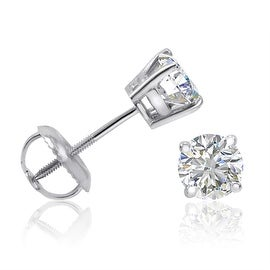 Amanda Rose IGI Certified 14K White Gold Eco-Friendly 3/4ct TW Lab Grown Diamond Stud Earrings with Screw Backs (SI1-2 I-J)