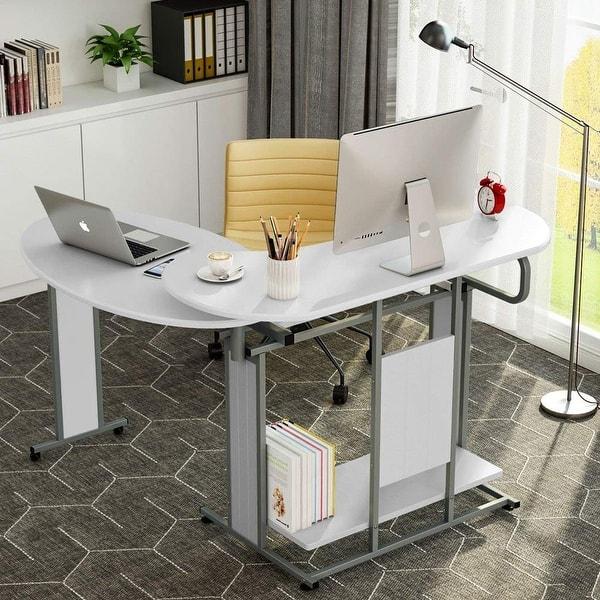 Shop L-Shaped Computer Desk, Rotating Modern Corner Desk ...