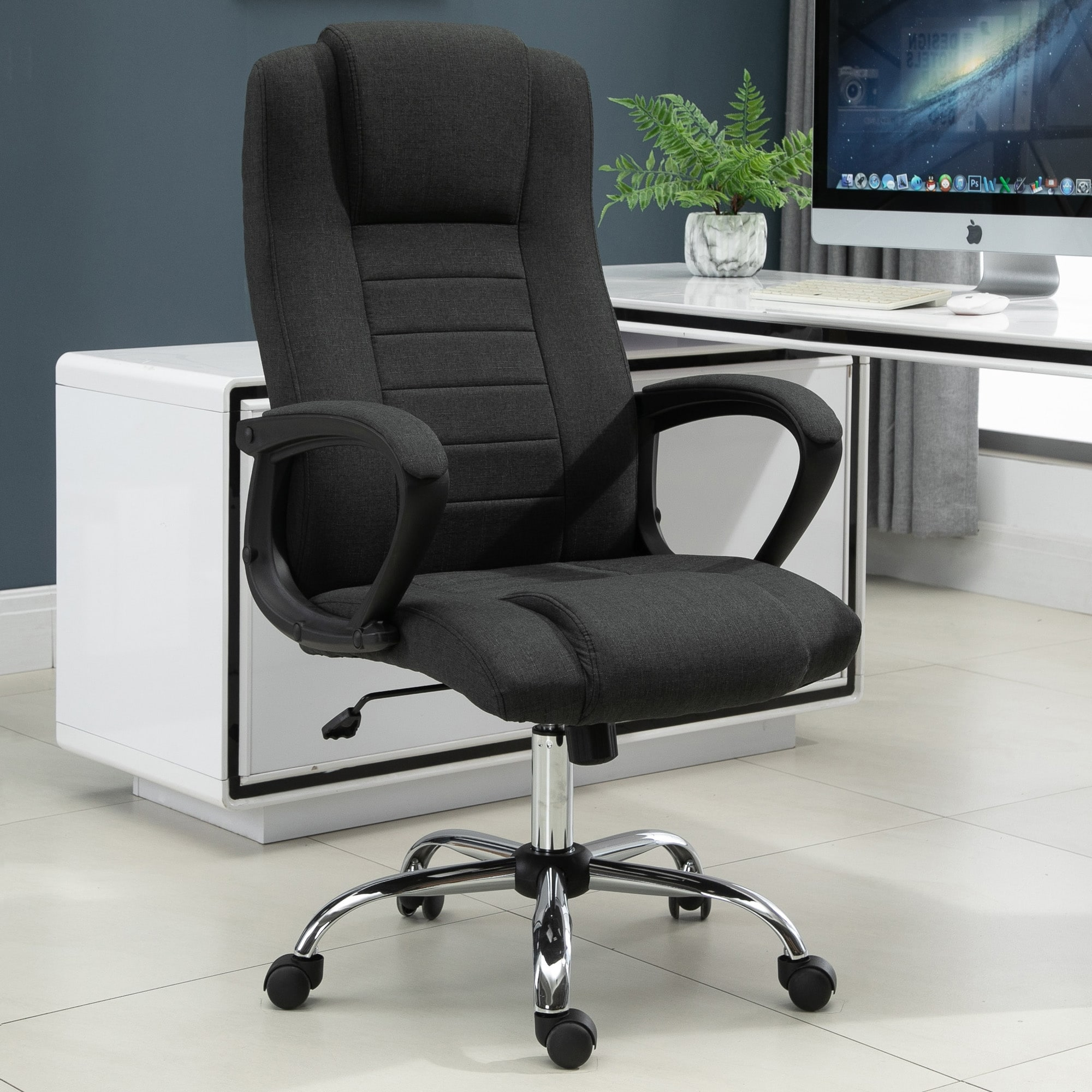 Shop Vinsetto High Back 360 Swivel Executive Computer Office Chair With Adjustable Height Comfort Tilt Function Black Overstock 31661416