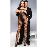Open Cup Fishnet Bodystocking, Fishnet Bodystocking - Black - One Size Fits Most