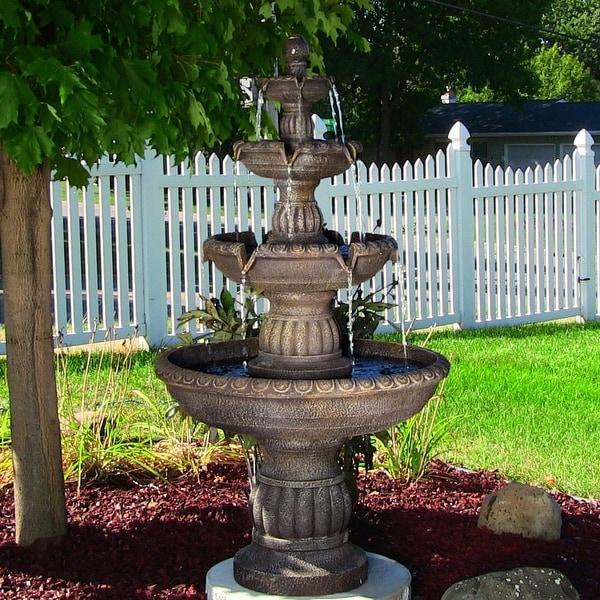 Sunnydaze Mediterranean Outdoor Water Fountain  Tier Electric  Inch