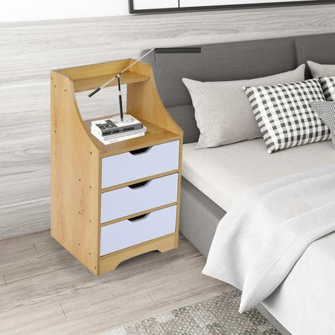 Simpleness Bedside Table Bedroom Bedside Table Coffee Table 3 Drawer Cabinet