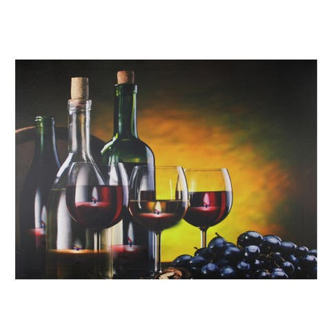 """15.75"""" LED Lighted Flickering Wine, Grapes and Candles Canvas Wall Art 11.75"""" x 15.75"""""""