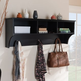 Maya Modern Transitional Entryway Wall Mounted Coat Rack with Shelves
