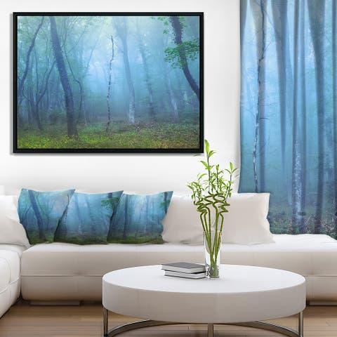Designart 'Dark Foggy Forest Trees' Landscape Photography Framed Canvas Print
