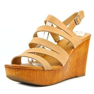 Lucky Brand Marinaa Open Toe Leather Wedge Heel
