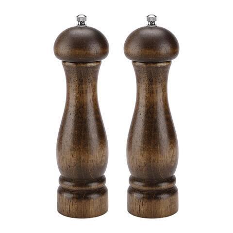 "Salt and Pepper Grinder Wooden Mills Shakers w Adjustable Coarseness - Wood Color - 2.2""x8.3"", 2pcs"
