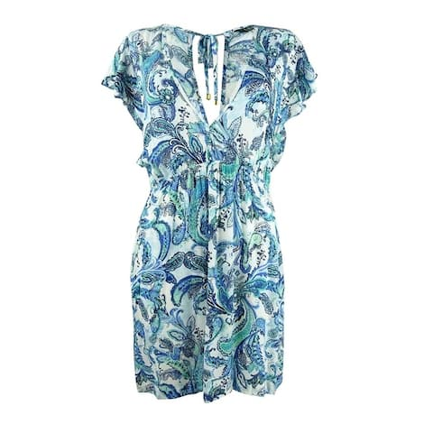 Lauren by Ralph Lauren Women's Plus Size Fiesta Paisley Tunic Swim Top Cover-Up - Blue