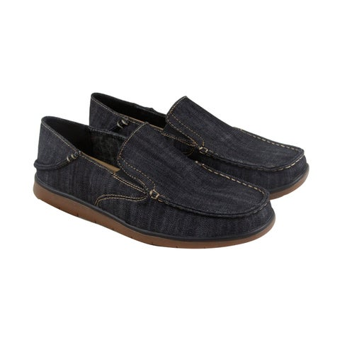 GBX Entro Mens Black Canvas Casual Dress Slip On Loafers Shoes